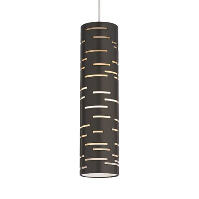 Revel 1-Light Mini Pendant Base Finish: Satin Nickel, Shade Color: Antique Bronze