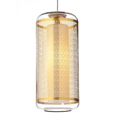 Ecran 1-Light Mini Pendant Base Finish: Satin Nickel, Shade Color: Platinum, Bulb Type: 1 x 50W Halogen