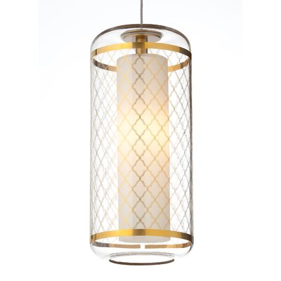 Ecran Drum Pendant Base Finish: Chrome, Shade Color: Gold