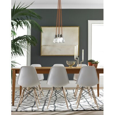 Hickory 7-Light Cluster Pendant Finish: Aged Brass, Shade Color: Black/White