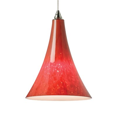 Melrose Mini Pendant Base Finish: Satin Nickel, Shade Color: Ferrari Red