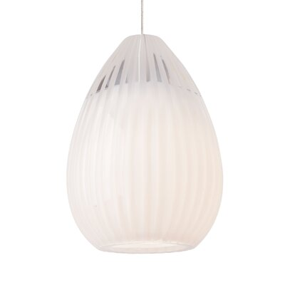 Ava 1-Light Mini Pendant Base Finish: Satin Nickel, Shade Color: White