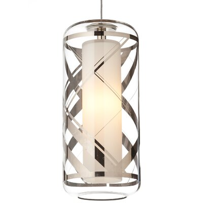 Ecran 1-Light Mini Pendant Base Finish: Satin Nickel, Shade Color: Platinum, Bulb Type: 1 x 8W LED