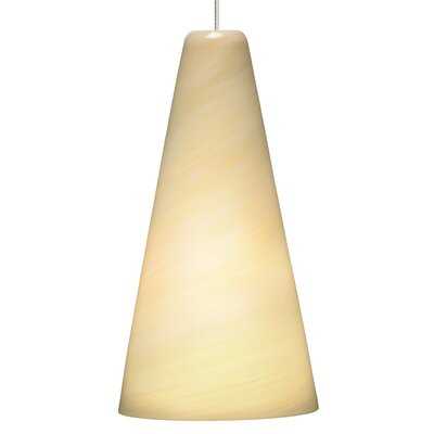 Taza 1-Light Mini Pendant Base Finish: Satin Nickel, Shade Color: Cream