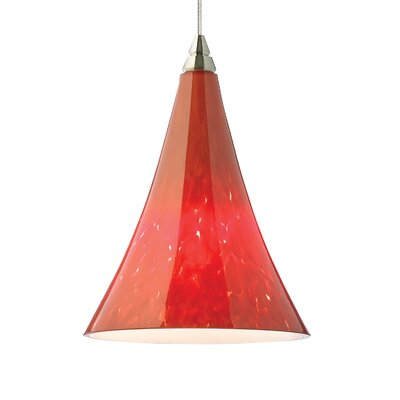 Melrose 1-Light Mini Pendant Base Finish: Chrome, Shade Color: Ferrari Red