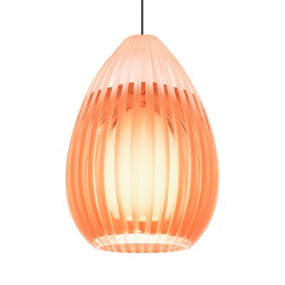 Ava 1-Light Mini Pendant Base Finish: Satin Nickel, Shade Color: Orange