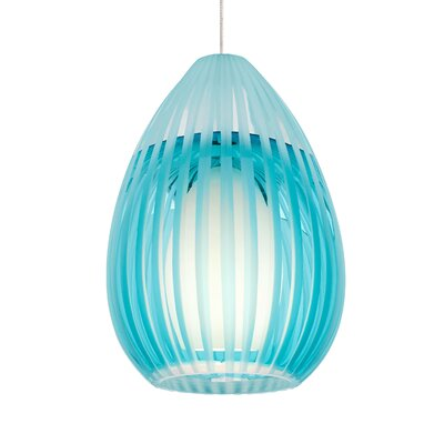 Ava 1-Light Mini Pendant Shade Color: Aqua, Base Finish: Satin Nickel