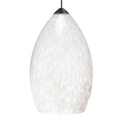 Firefrit Mini Pendant Base Finish: Antique Bronze, Shade Color: White�Frit