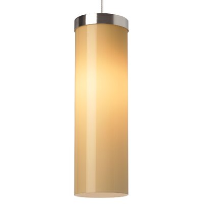 Hudson Drum Pendant Base Finish: Chrome, Shade Color: Latte