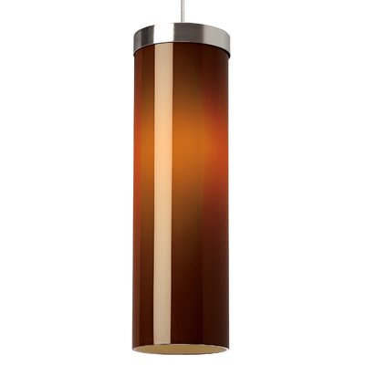 Hudson Drum Pendant Base Finish: Satin Nickel, Shade Color: Brown