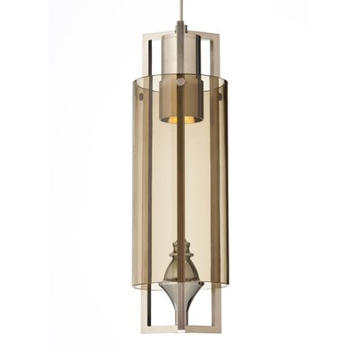 Projekt 1-Light Mini Pendant Base Finish: Satin Nickel, Shade Color: Smoke