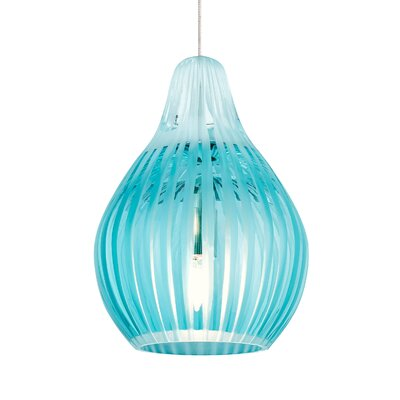 Avery 1-Light Mini Pendant Base Finish: Satin Nickel, Shade Color: Aqua