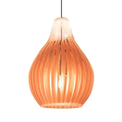 Avery 1-Light Mini Pendant Base Finish: Chrome, Shade Color: Orange