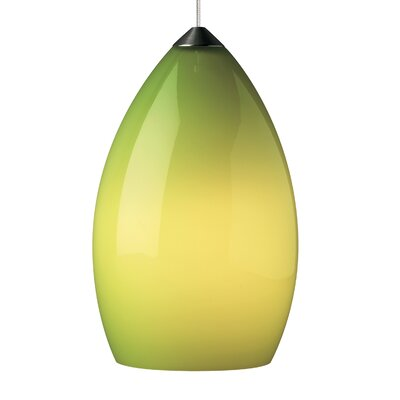 Firefrost 1-Light Mini Pendant Base Finish: Satin Nickel, Shade Color: Chartreuse, Bulb Type: 90 CRI 3000K LED