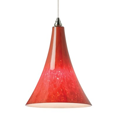 Melrose 1-Light Mini Pendant Base Finish: Satin Nickel, Shade Color: Ferrari Red