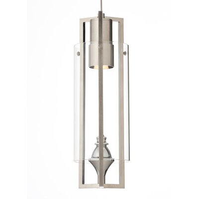 Projekt 1-Light Mini Pendant Base Finish: Satin Nickel, Shade Color: Clear