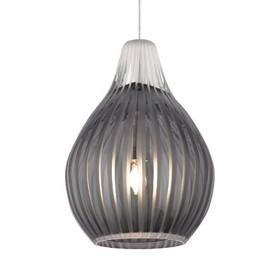 Avery 1-Light Mini Pendant Base Finish: Chrome, Shade Color: Smoke