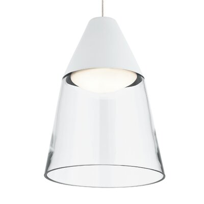 Masque 1-Light Mini Pendant Shade Color: Clear/White