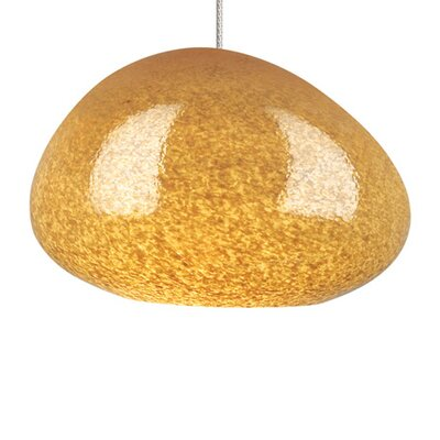 River Rock 1-Light Mini Pendant Finish: Chrome, Shade Color: Green