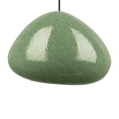 River Rock 1-Light Mini Pendant Finish: Satin Nickel, Shade Color: Green