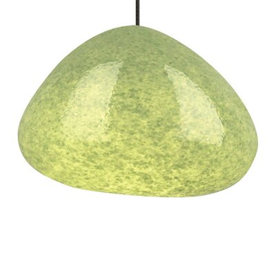 River Rock 1-Light Mini Pendant Shade Color: Green, Finish: Antique Bronze