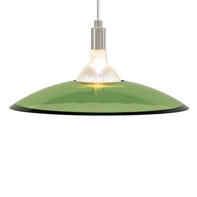 Diz 1-Light Bowl Pendant Shade Color: Green, Finish: Chrome