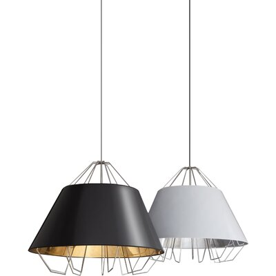 Artic Grande Inverted Pendant Shade Color: Black Silver, Bulb Type: Halogen
