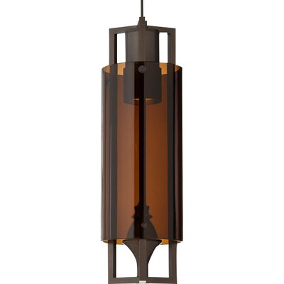 Projekt 1-Light Pendant Shade Color: Clear, Finish: Antique Bronze