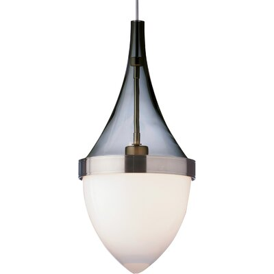 Parfum Grande 1-Light Mini Pendant Bulb Type: Incandescent, Shade Color: Transparent Smoke / White, Finish: Satin Nickel