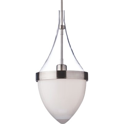 Parfum Grande 1-Light Mini Pendant Bulb Type: Compact Fluorescent, Shade Color: Clear / White, Finish: Satin Nickel