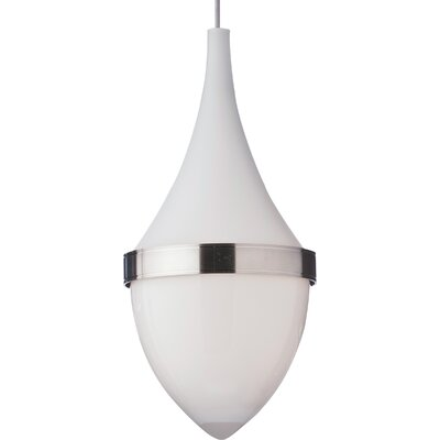 Parfum Grande 1-Light Mini Pendant Bulb Type: Incandescent, Shade Color: White / White, Finish: Satin Nickel