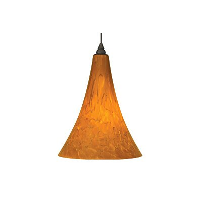 Melrose 1-Light Mini Pendant Finish: Antique Bronze, Color: Amber, Bulb Type: 1 x 50W Halogen