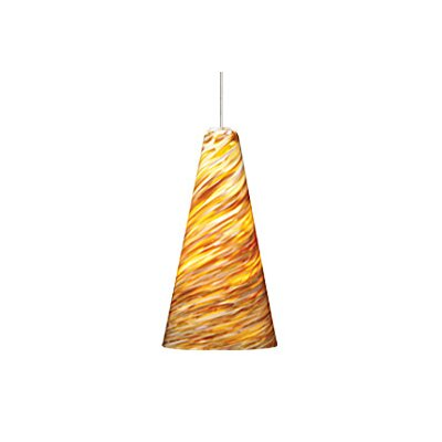 Mini Taza 1-Light Two-Circuit Monorail Pendant Finish: Chrome, Color: Amber