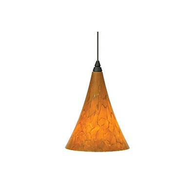 Melrose 1-Light Mini Pendant Finish: Antique Bronze, Color: Amber / Tahoe Pine Amber, Bulb Type: 1 x 50W Halogen