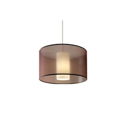 Dillon 1-Light Drum Pendant Finish / Shade / Bulb Type / Volts: Satin Nickel / Brown / Fluorescent / 120