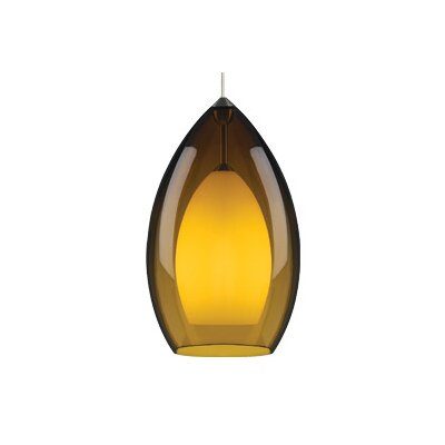 Fire Grande 1-Light Pendant Finish: Satin Nickel, Shade: Amber, Bulb Type: Fluorescent