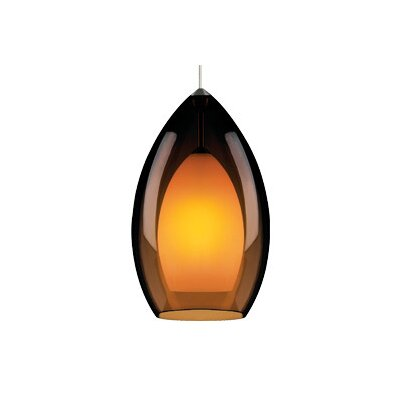 Fire Grande 1-Light Mini Pendant Finish: Satin Nickel, Shade: Havana Brown, Bulb Type: Fluorescent