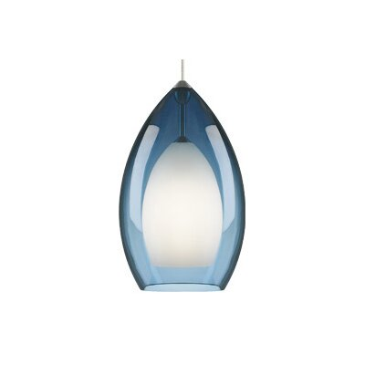 Fire Grande 1-Light Mini Pendant Finish: Satin Nickel, Shade: Steel Blue, Bulb Type: Incandescent