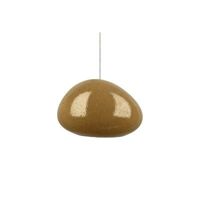 River Rock Wedge Monopoint 1-Light Mini Pendant Finish: Satin Nickel, Shade Color: Pebble Brown