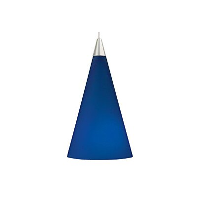 Cone 1-Light Mini Pendant Finish: Satin Nickel, Color: Blue / Cobalt