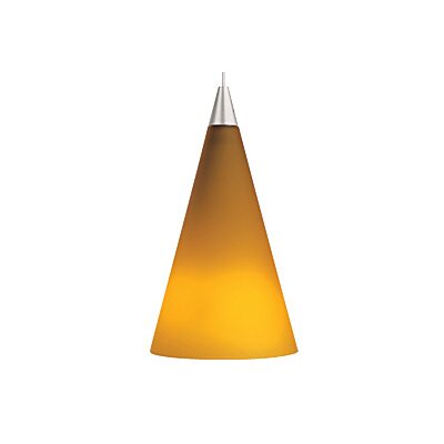 Cone 1-Light Mini Pendant Finish: Satin Nickel, Color: Amber, Bulb Type: 1 x 50W Halogen