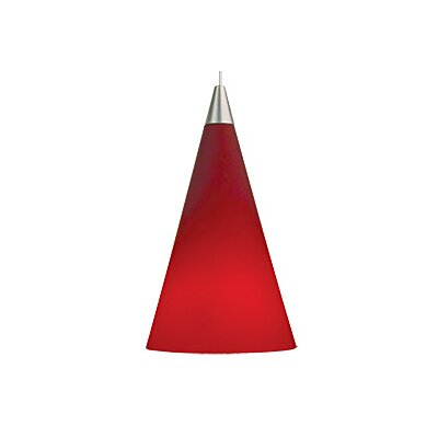 Cone 1-Light Mini Pendant Finish: Satin Nickel, Color: Red, Bulb Type: 1 x 50W MR16 Halogen