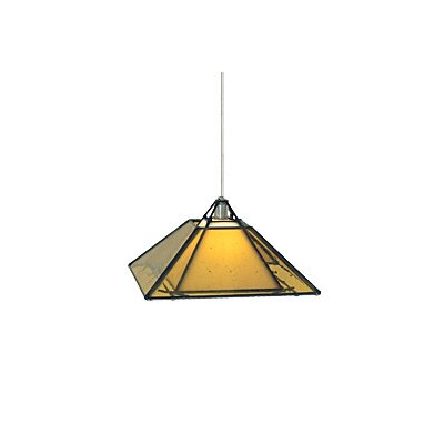 Oak Park 1-Light Mini Pendant Finish: Satin Nickel, Color: Amber