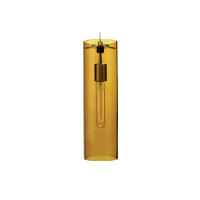 Beacon 1-Light Mini Pendant Finish: Satin Nickel, Shade: Amber, Bulb Type: Fluorescent