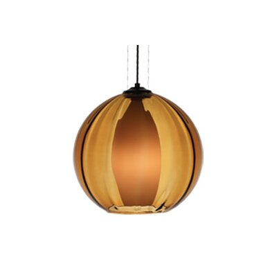World Inner 1-Light Globe Pendant Finish / Shade / Bulb / volts: Antique Bronze / Amber / Fluorescent / 120