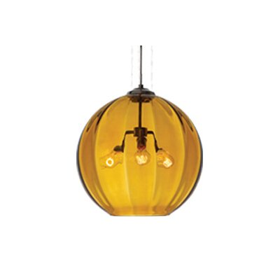 World 3-Light Globe Pendant Finish: Antique Bronze, Shade: Amber