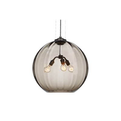 World 3-Light Globe Pendant Finish: Black, Shade: Smoke