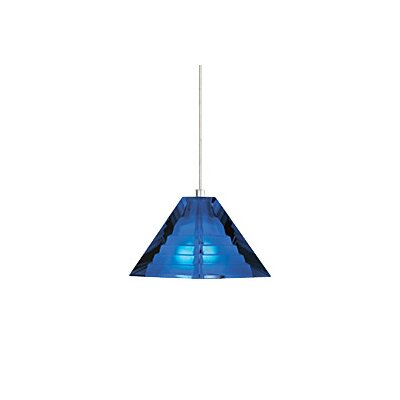 Pyramid 1-Light Mini Pendant Finish: Satin Nickel, Color: Blue / Cobalt