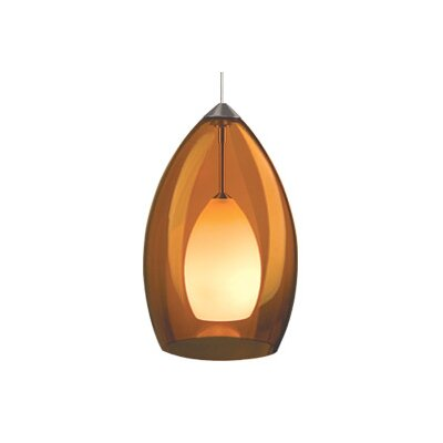 Fire 1-Light Mini Pendant Finish: Satin Nickel, Color: Amber