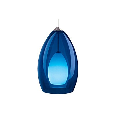 Fire 1-Light Mini Pendant Finish: Satin Nickel, Color: Blue / Cobalt